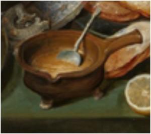 Hans Francken, Winterstilleven met pannenkoeken, wafels en een vollaard, 1581-1624