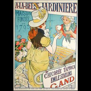 Reclamepaneel voor Cichorei 'A la belle jardinière', winkel Emile STAELENS