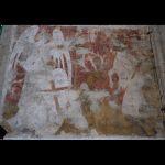 Muurschildering met de heilige Hubertus en hert in de Sint-Jan-Evangelistkerk te Tervuren