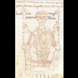 Afbeelding van Karel de Grote in de Kroniek van Ekkehard van Aura ca. 1112-1114 Cambridge Corpus Christi Ms 373 fol. 24r.