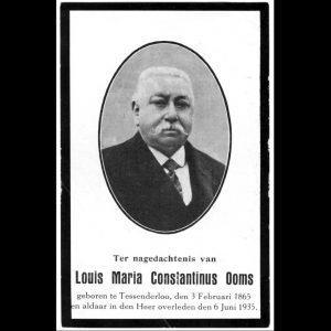 rouwprentje burgemeester Ooms Louis Maria Constantinus