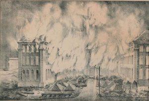 Zicht op de brand van het arsenaal van Antwerpen op 27 oktober 1830 door Henry Ratinckx