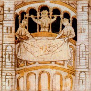 Reliekentoning vanaf de dwergalerij van de Sint-Servaaskerk in Maastricht, Blokboek van Sint-Servaas, ca. 1460
