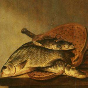 Pieter de Putter, ca. 1600 - 1659, zeef met vis