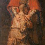 Rembrandt, detail, De terugkeer van de verloren zoon, 1663