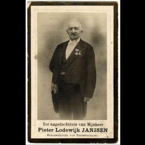 rouwprentje burgemeester Janssen Pieter Lodewijk